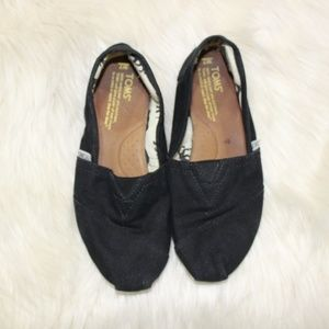 Tom's Black Canvas Slip On Loafers sz 7